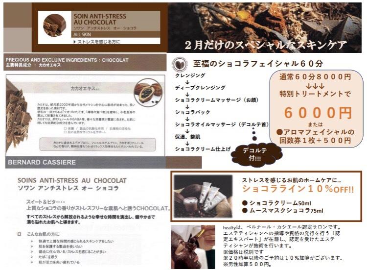 チョコレートフェイシャル、ショコラフェイシャルキャンペーン、ベルナールカシエールのショコラライン